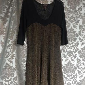 Material Girl Black and Gold Dress Sz XL